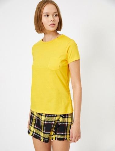 Koton Cep Detayli T-Shirt Sarı